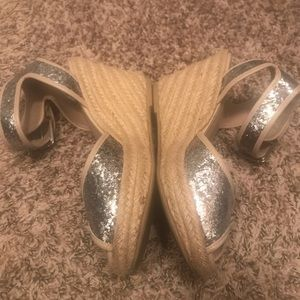 Neutral/glittery silver wedges
